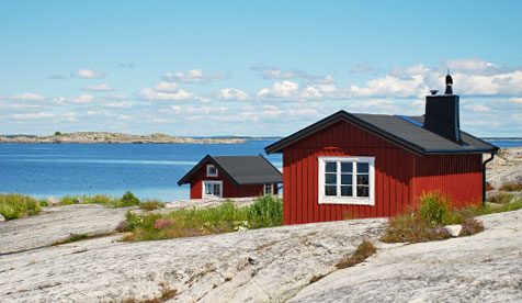 Myggskären with red cabins in the Stockholm archipelago